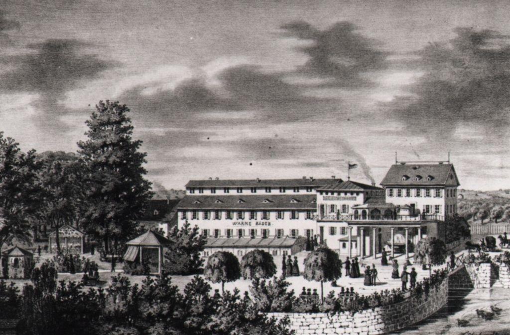 Das Bad Berg auf einer Lithografie aus den 1850er-Jahren. Erbaut wurde das Bad von dem königlichen Hofgärtner Friedrich Neuner. Foto: Stadtarchiv Stuttgart