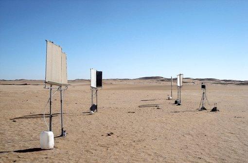 Pro Quadratmeter haben diese Spezialstoffe in der extrem trockenen Namibwüste je drei Liter Wasser eingefangen. Foto: ITV Denkendorf