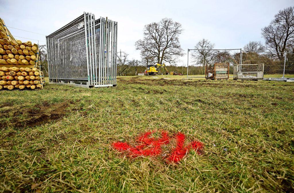 """In der Waiblinger Talaue laufen nun die Vorbereitungen für den Bau der """"Kunstlichtung"""". Foto: Jan Potente"""