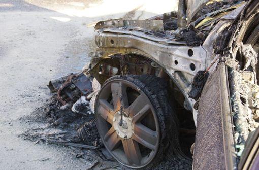 Renault mit Wohnwagen brennt
