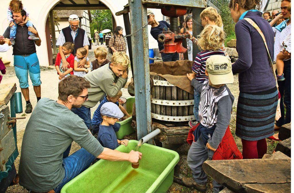 Die historische Saftpresse bietet die Gelegenheit, selbst Hand anzulegen. Foto: Rudel Ines