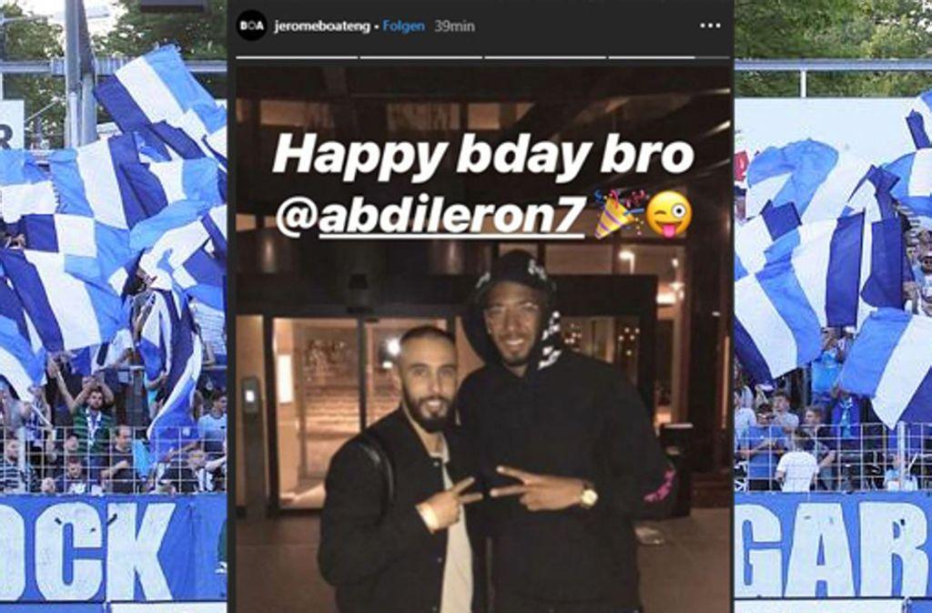 Jerome Boateng sendete via Instagram Geburtstagsgrüße an Abdenour Amachaibou von den Stuttgarter Kickers. Foto: Screenshot Instagram:  jeromeboateng