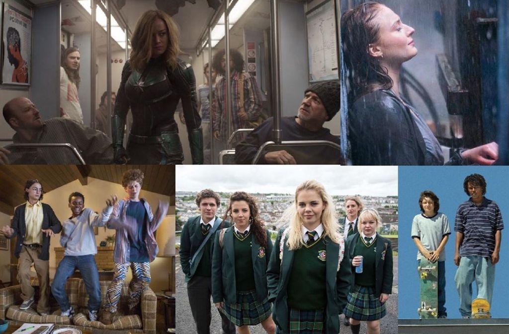 """So stellen sich Serien- und Filmemacher die 1990er vor (von links oben im Uhrzeigersinn): Szenen aus """"Captain Marvel"""", """"X-Men Dark Phoenix"""". """"Mid90s"""", """"Derry Girls"""" und """"Everything Sucks!"""" Foto: Disney, Fox, Netflix, Channel 4, A24"""