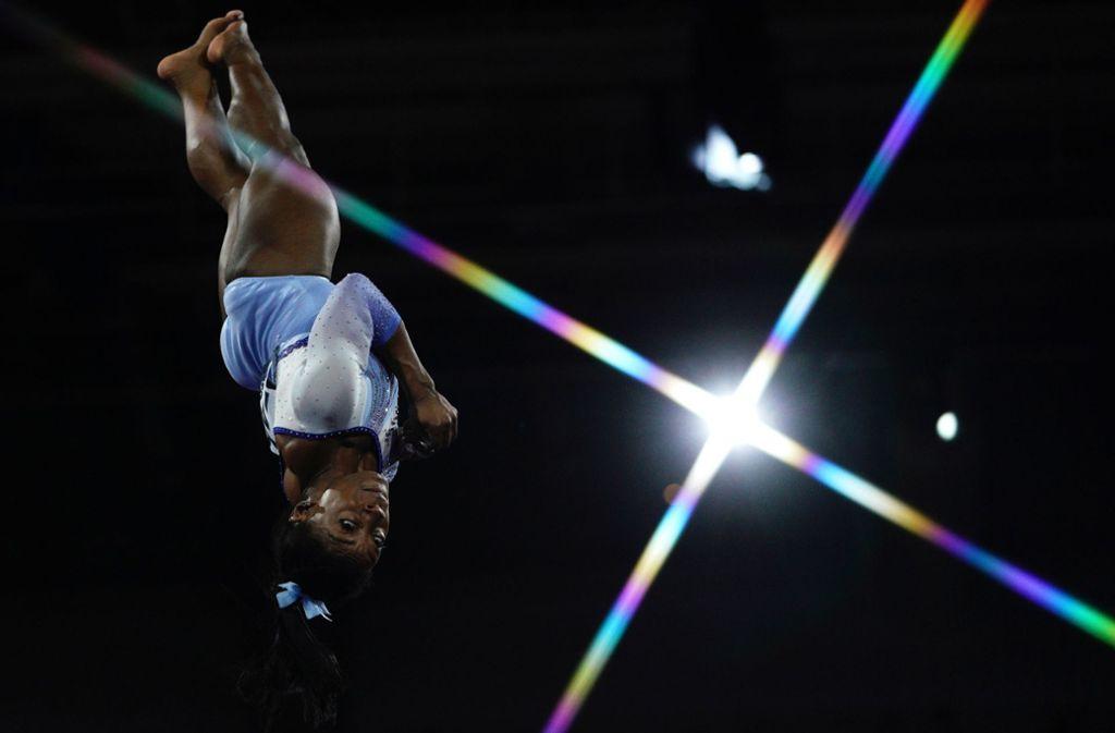 Superstar aus Amerika in Stuttgart: Simone Biles Foto: AFP