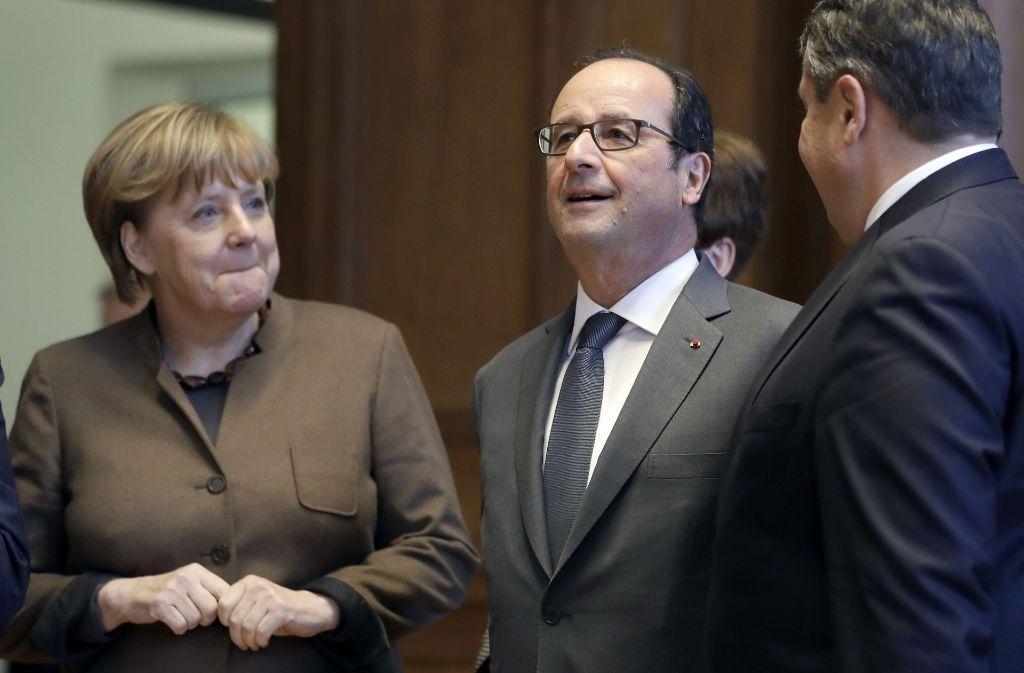 Angela Merkel und François Hollande bei einem Treffen in Berlin. Foto: AP