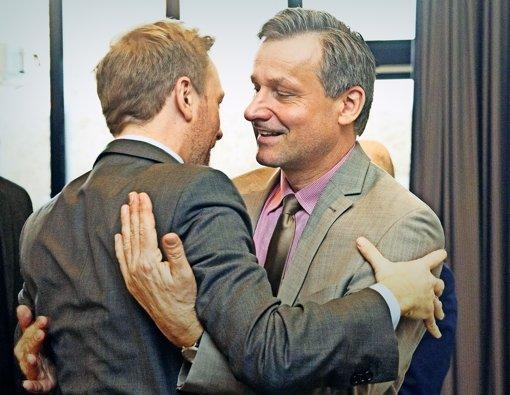 FDP-Chef Christian Lindner und Spitzenkandidat Hans-Ulrich Rülke Foto: dpa