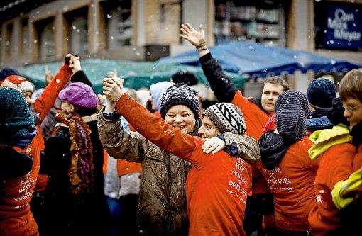 Flashmob im Schneetreiben