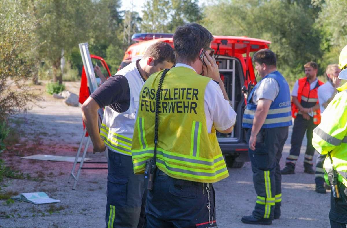 Die Unglücksstelle wurde am Sonntagabend etwa 800 Meter südlich von Karlsruhe-Oberreut entdeckt. Foto: dpa/Aaron Klewer