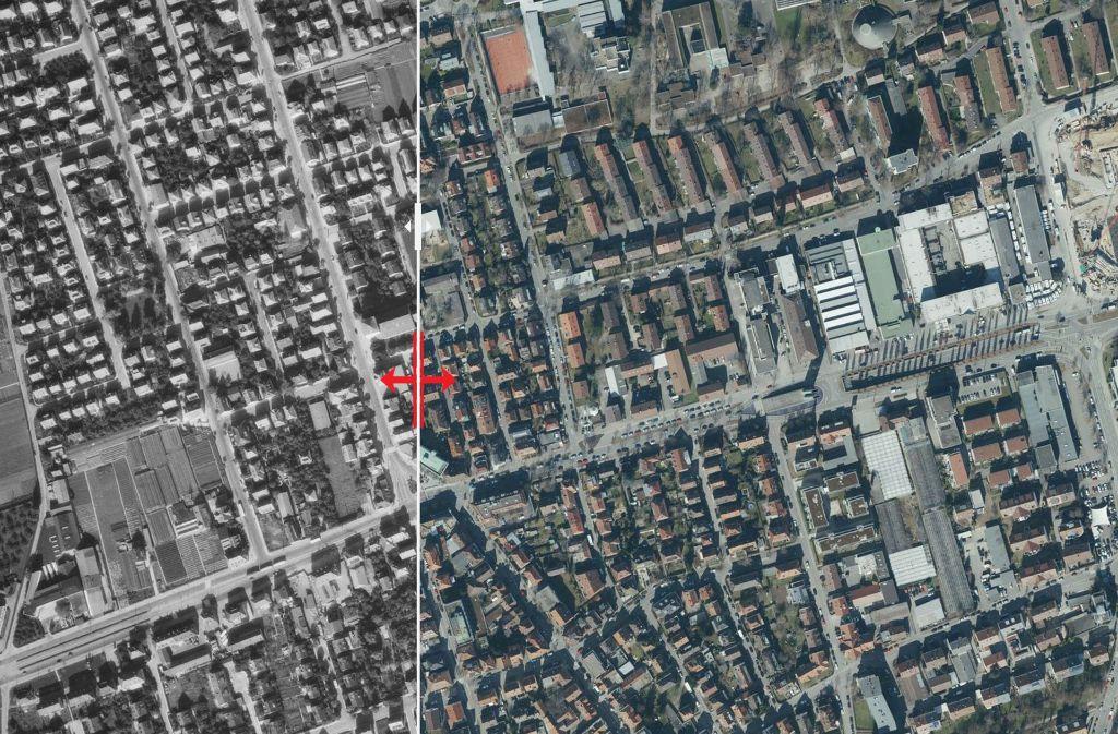 Luftbilder aus den Jahren 1955 und 2017. Foto: Stadtmessungsamt Stuttgart