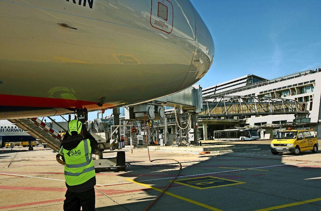 Neuer Akteur auf dem Vorfeld: Für die SAG arbeiten  rund 200 frühere Mitarbeiter der Flughafen-Muttergesellschaft. Foto: Flughafen Stuttgart