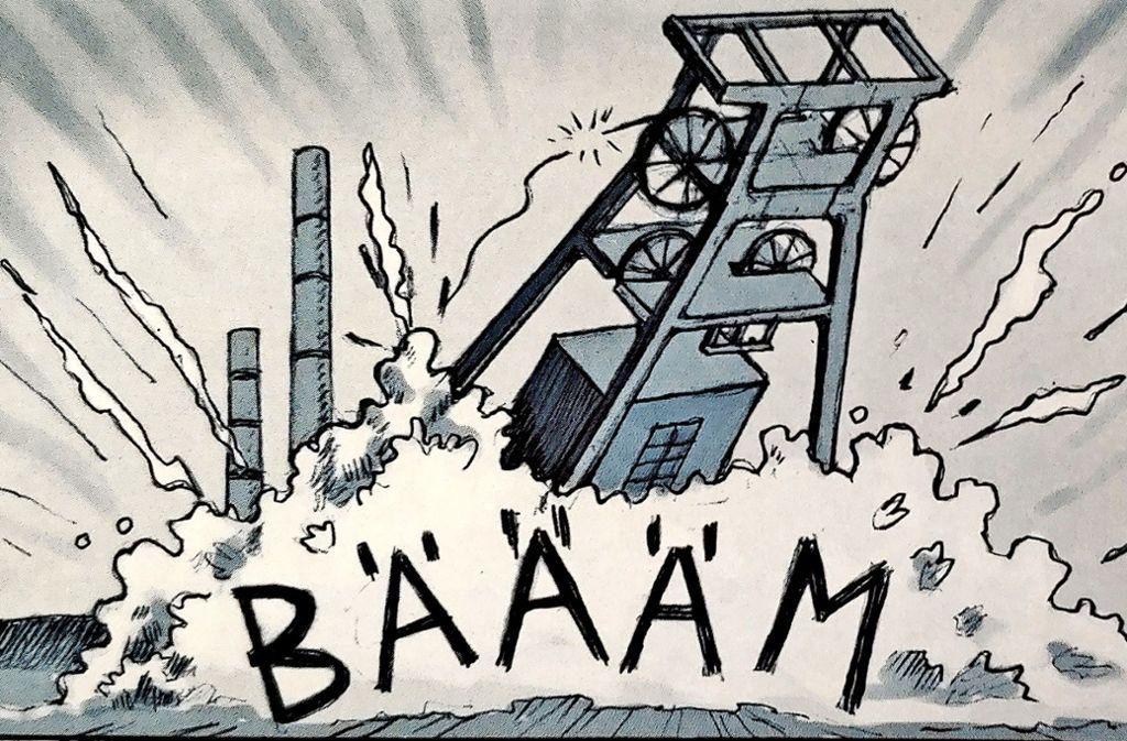 In der Nachkriegszeit schließen im Ruhrgebiet Kohle- und Stahlwerke – für Zeichner Nils Oskamp der Auslöser vieler Probleme. Foto: