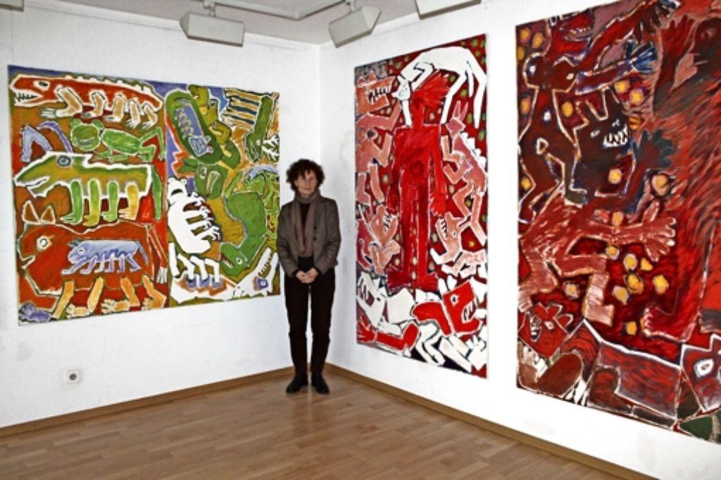 """""""Die Versuchung des Heiligen Antonius"""" (rechts) ergänzt Gabriele Zeller-Kramers """"Erschaffung der Tiere"""" (links). Foto: Sabine Schwieder"""