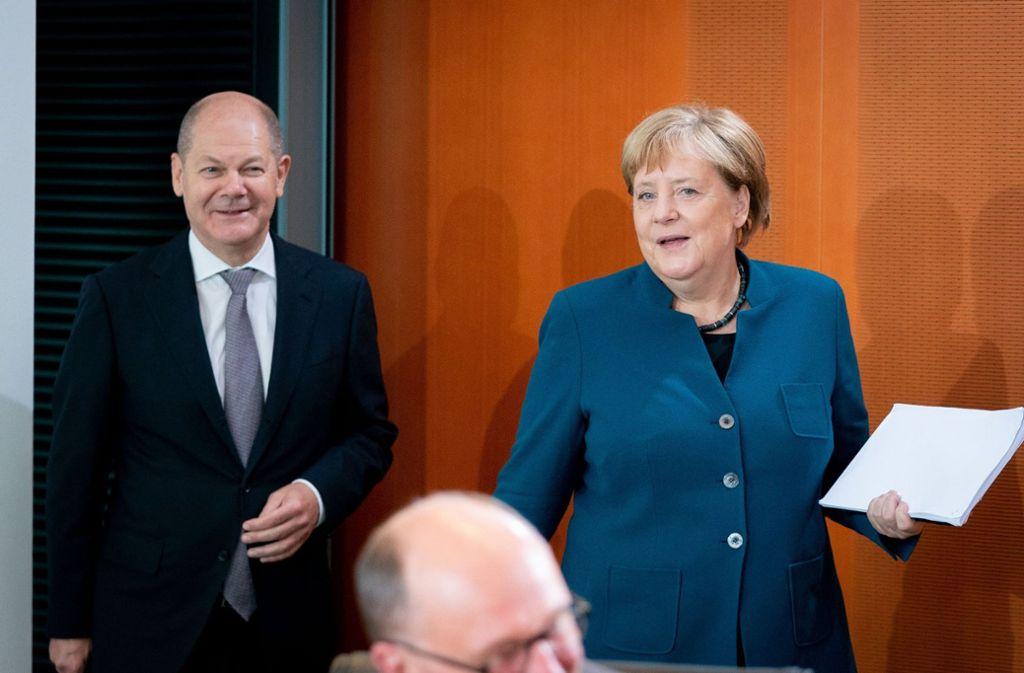 Nicht abgestimmt wurde der Vorschlag von Olaf Scholz für die europäische Einlagensicherung mit der Kanzlerin. Foto: dpa/Kay Nietfeld