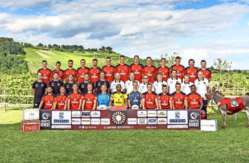 So sieht ein stolzer Dorfklub aus: das offizielle Mannschaftsfoto der SG Sonnenhof Großaspach mit dem Maskottchen Dorfesel Andile. Foto: SG94