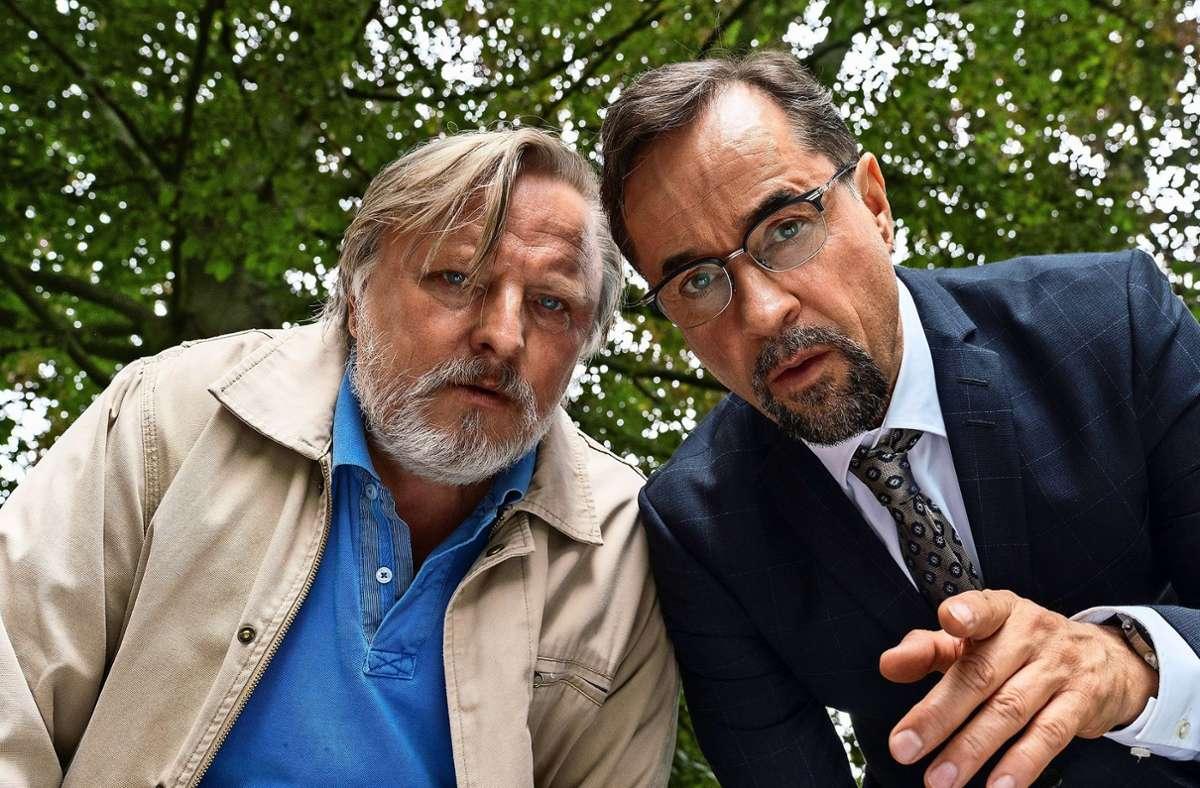 Boerne (Jan Josef Liefers, re.) und Thiel (Axel Prahl) bekommen was zu staunen. Foto: WDR/Thomas Kost