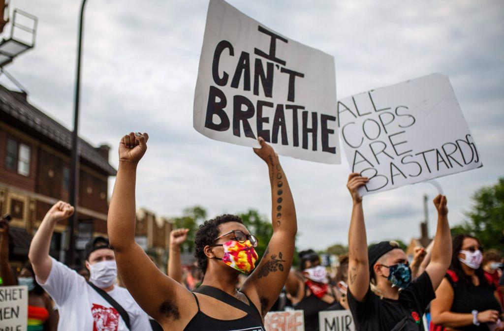 In Minneapolis gab es nach dem Vorfall Proteste gegen Polizeigewalt. Foto: AFP/KEREM YUCEL