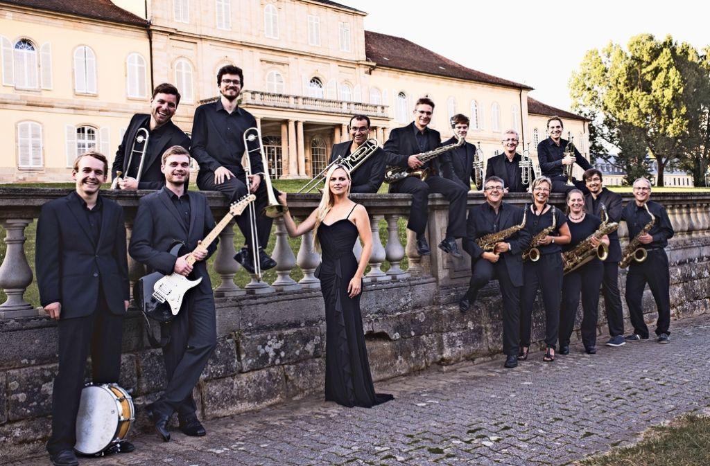 Timo Schempp (hinter der Mauer, ganz links) und Sandra Feifer (vor der Mauer, dritte von rechts) gehören zur neu gegründeten Big Band der Uni Hohenheim. 21 Mitglieder hat das neue Ensemble insgesamt. Foto: z/Dominik Reinelt