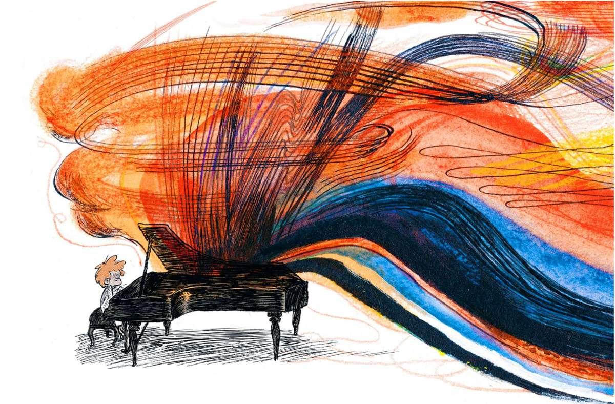 """Der kleine Ludwig spielt – und im Comic """"Goldjunge"""" steigen dabei die Farbwolken aus dem Klavier. Foto: Avant-Verlag/Mikaël Ross"""