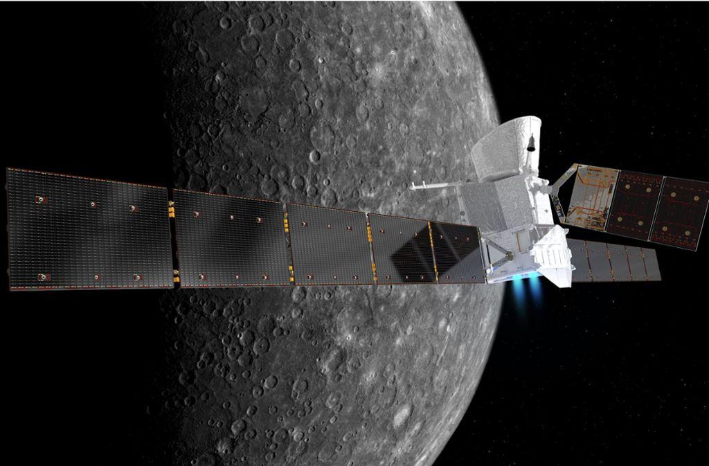 In die Umlaufbahn des Merkur einzuschwenken ist nicht einfach. Wenn alles nach Plan läuft, trennen sich hier die Wege der beiden Forschungsplattformen, die mit BepiColombo transportiert werden.  Foto: Esa