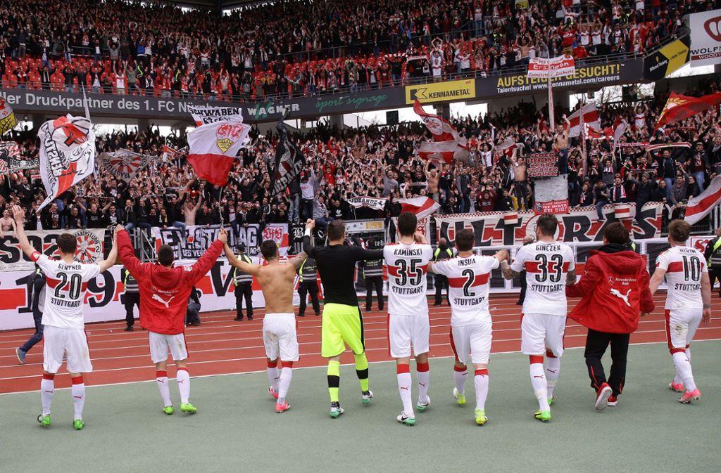 Der VfB Stuttgart kann sich im Spiel beim 1. FC Nürnberg auf die Unterstützung seiner Anhänger verlassen. Foto: Pressefoto Baumann