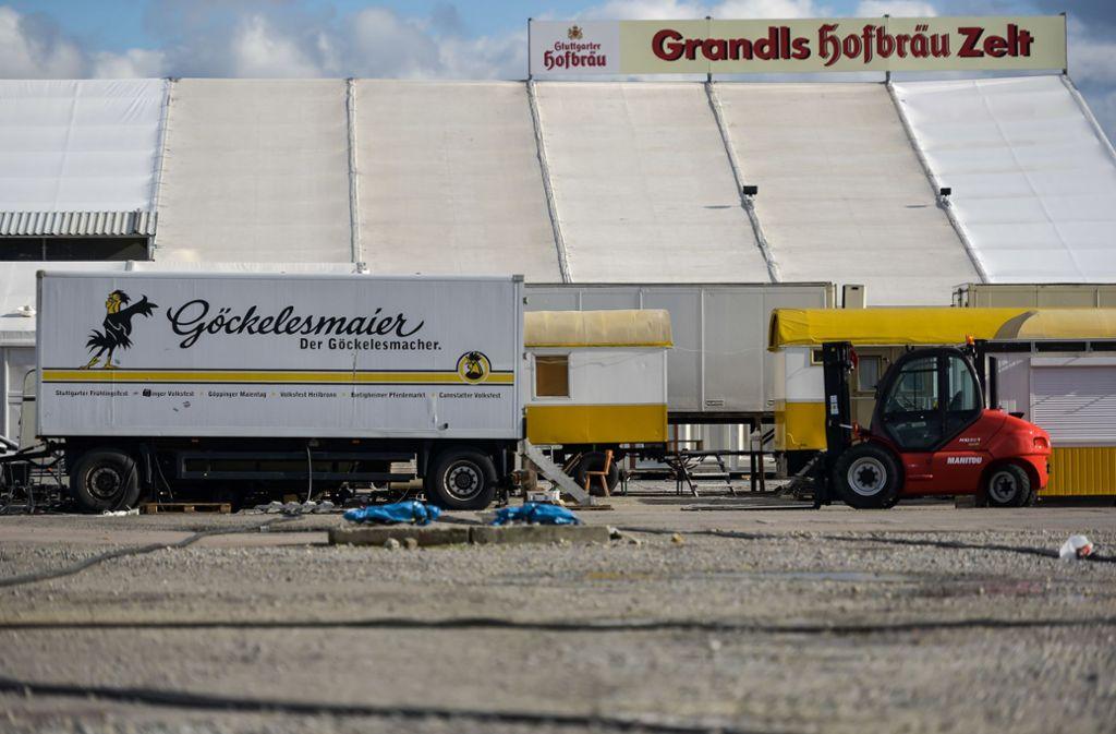Grandls Hofbräu Zelt kann direkt wieder abgebaut werden ... Foto: Lichtgut/Max Kovalenko
