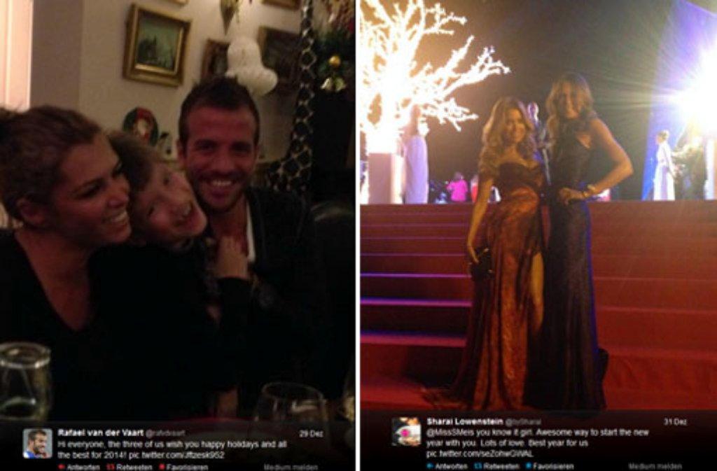 Während es bei Rafael und Sabia ganz ruhig zuging (links), war Sylvie Meis in Feierlaune - alles zu sehen auf Twitter. Foto: twitter.com/rafvdvaart und twitter.com/bySharai