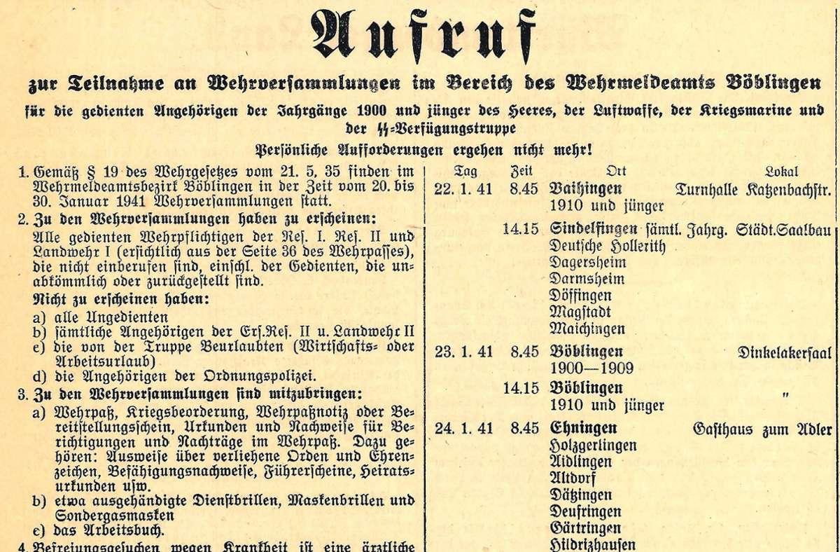 Mit diesen Aufrufen   in der lokalen Presse  wurden im Jahr 1941  alle Männer mit Militärausbildung  bis zum 41. Lebensjahr zur Wehrversammlung verpflichtet. Foto: Stadtarchiv