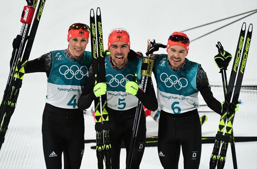 Historischer Triumph bei Olympia 2018: Eric Frenzel, Johannes Rydzek, Fabian Rießle (v.l.n.r.) Foto: Getty Images AsiaPac