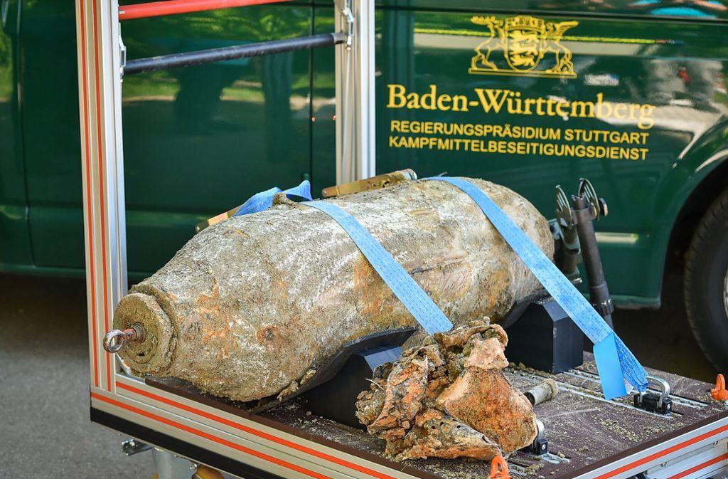 Lehrbeispiel für Möhringen: Im Juni 2019 wurde in Weilimdorf eine ähnliche Weltkriegsbombe entschärft. Foto: Lichtgut/Ferdinando Iannone
