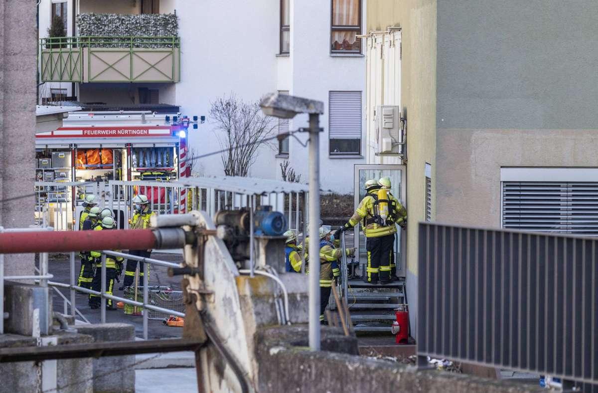 Wegen der Rauchentwicklung rückt die Feuerwehr Nürtingen an. Foto: 7aktuell.de/Daniel Jüptner