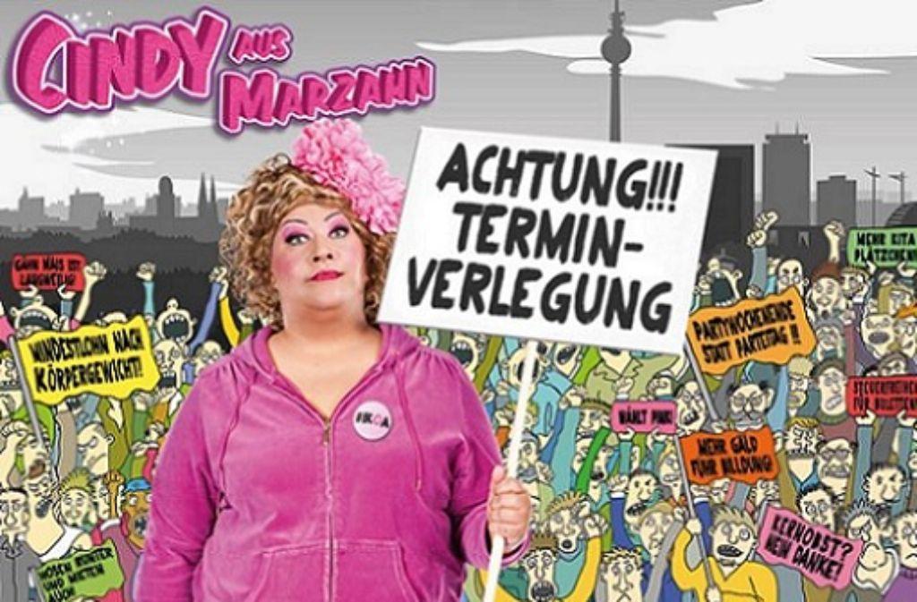 Die Komödiantin Cindy aus Marzahn ist momentan krank und hat deshalb ihre Show in Göppingen am Freitag abgesagt. Screenshot: SIR