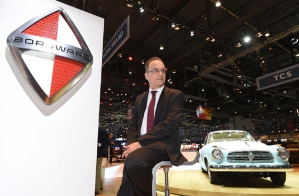 Christian Borgward, Enkel des Automobilpioniers Carl Friedrich Wilhelm Borgward, posiert beim Automobilsalon in Genf. DIe neue Zentrale des Autobauers könnte im Stuttgarter Eiermann-Areal liegen. Foto: dpa