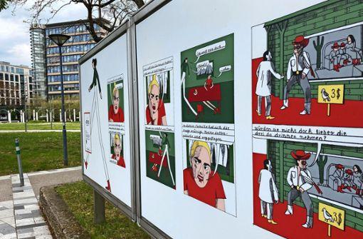 Comic-Anna führt durch die Stuttgarter Innenstadt