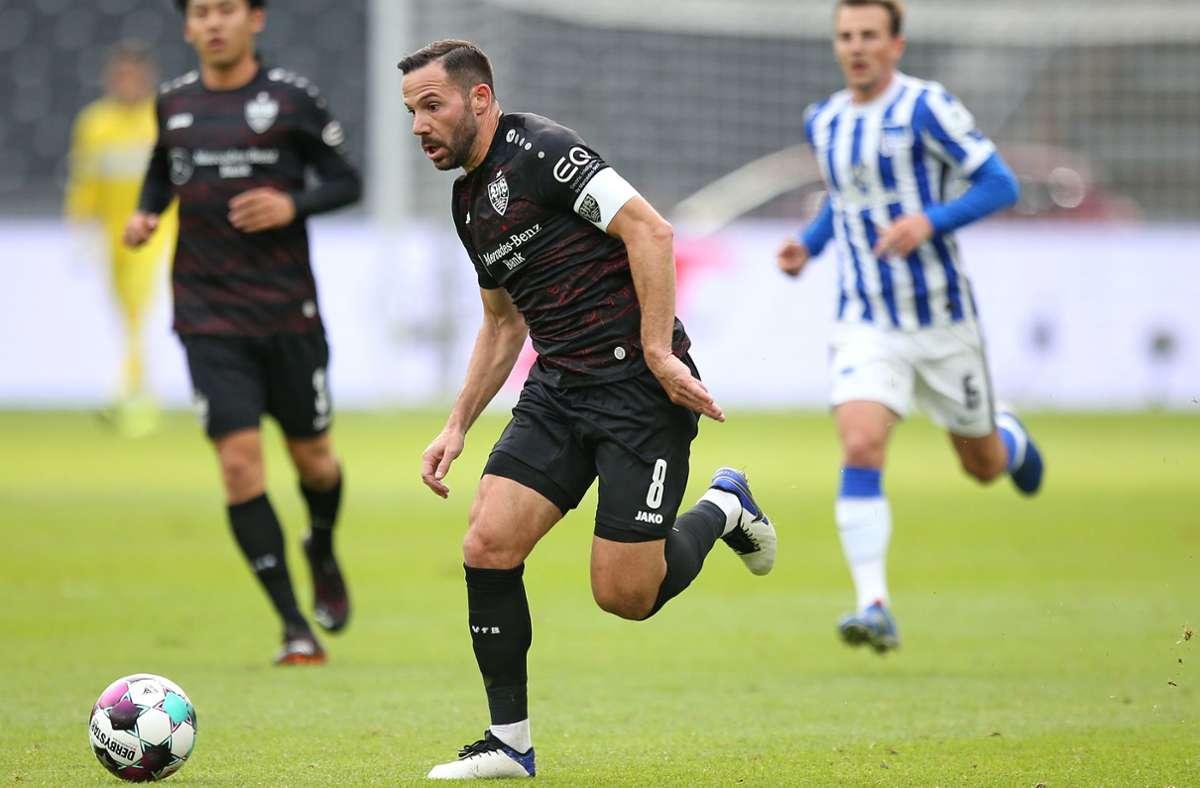 Gonzalo Castro hat in Berlin ein großes Laufpensum absolviert und für den VfB Stuttgart zum 2:0-Endstand getroffen. Foto: Baumann
