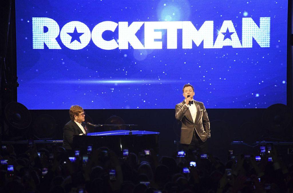 "Elton John und Schauspieler Taron Egerton in Cannes: ""Rocketman"" Foto: AP"