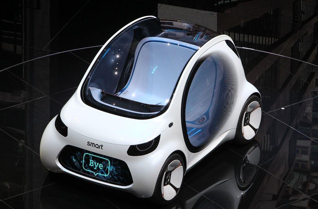 So stellt sich Daimler das Stadtauto der Zukunft vor: der Smart Vision EQ Fortwo. Foto: AFP