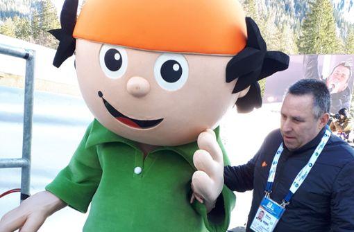 Mainzelmännchen als Aushilfe beim Biathlon