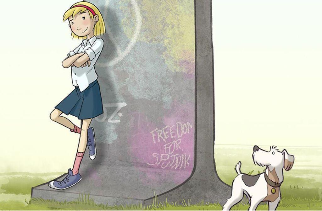 Fritzi kümmert sich um  Sputnik,den Hund ihrer Freundin Sophie – die über Ungarn in den Westen ausgereist ist. Foto: Verleih