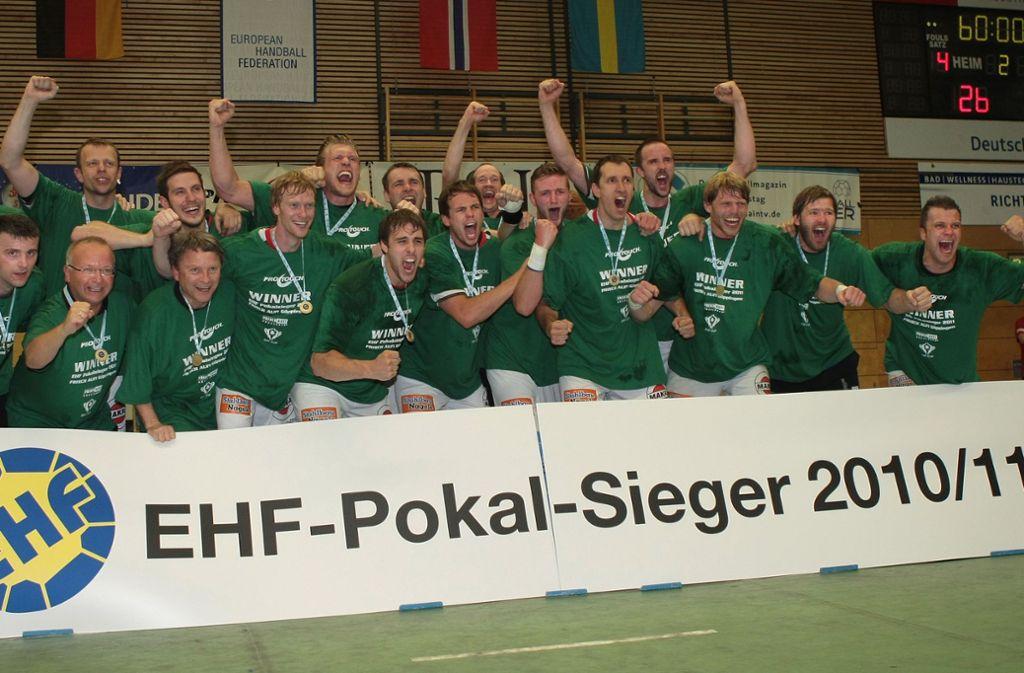 Feiertag in Elsenfeld: 2011 holte Frisch Auf Göppingen seinen ersten von insgesamt vier EHF-Pokal-Siegen im vergangenen Jahrzehnt. Foto: Baumann