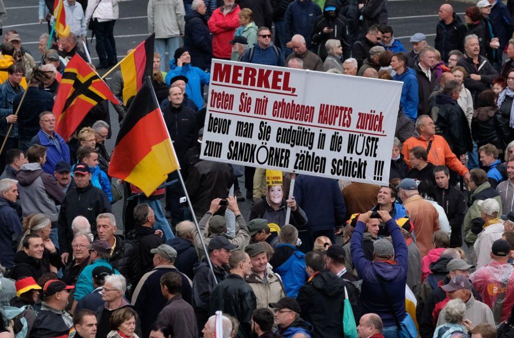 Der Hass auf die Kanzlerin trat in Dresden bei Demonstranten  zu Tage. Foto: dpa-tmn