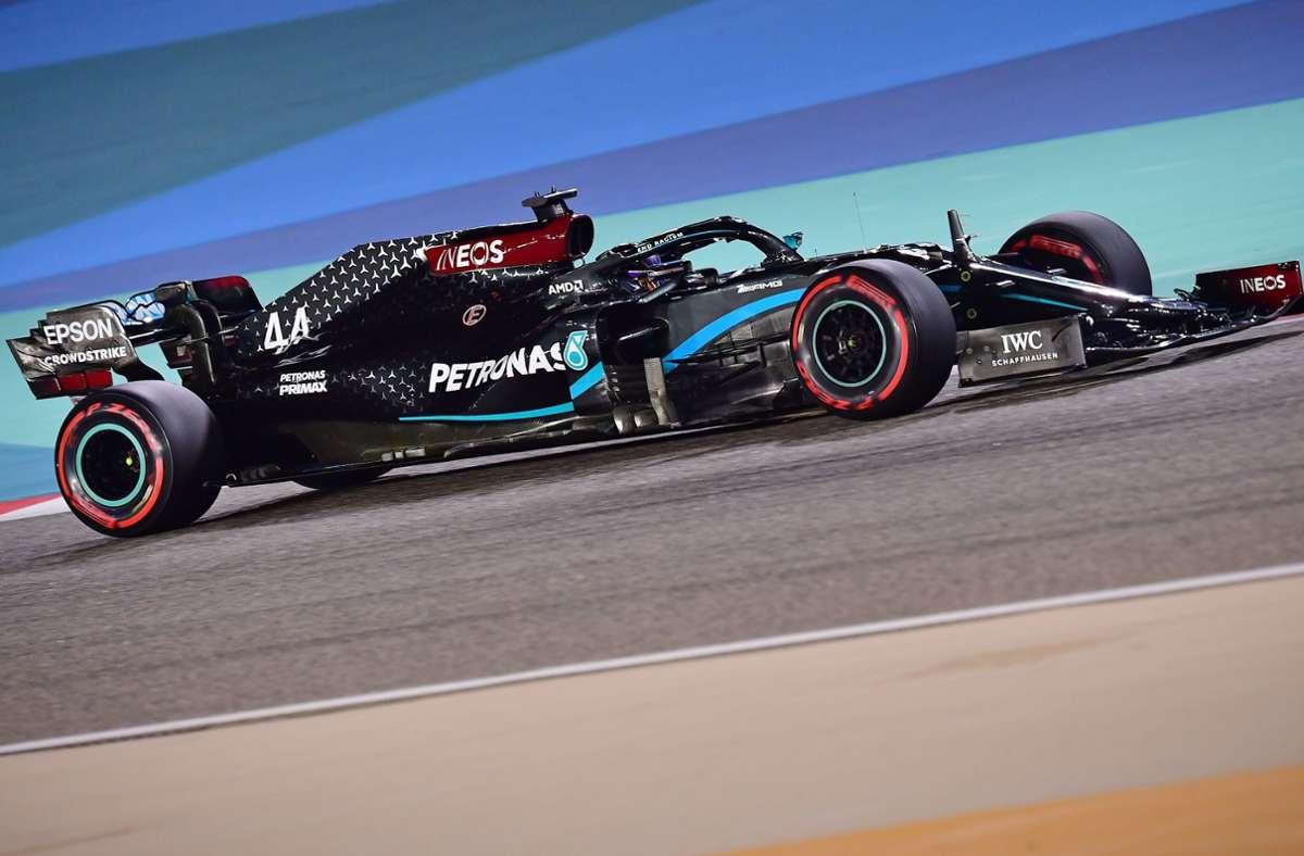 Lewis Hamilton hat sich die Pole beim Großen Preis von Bahrain geholt. Foto: AFP/GIUSEPPE CACACE