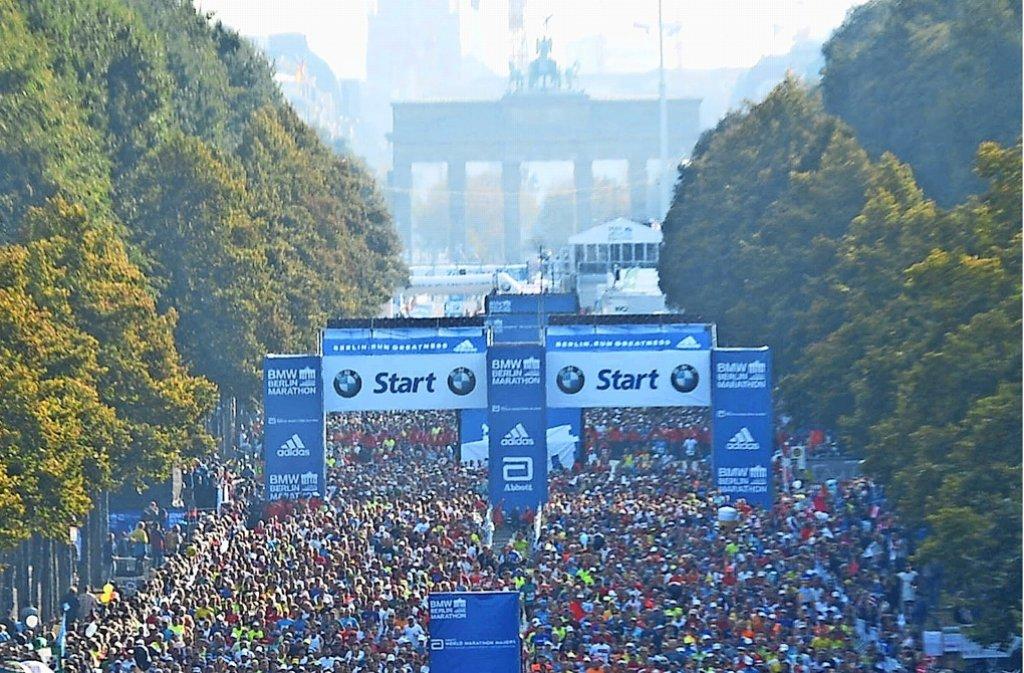 Über 40000 Teilnehmer sind jährlich beim Berlin-Marathon am Start. Foto: dpa