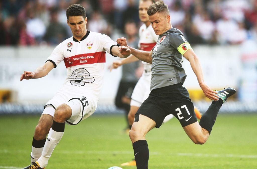 Alfred Finnbogason (rechts) wird gegen den VfB Stuttgart wohl nicht auflaufen können. Foto: Bongarts
