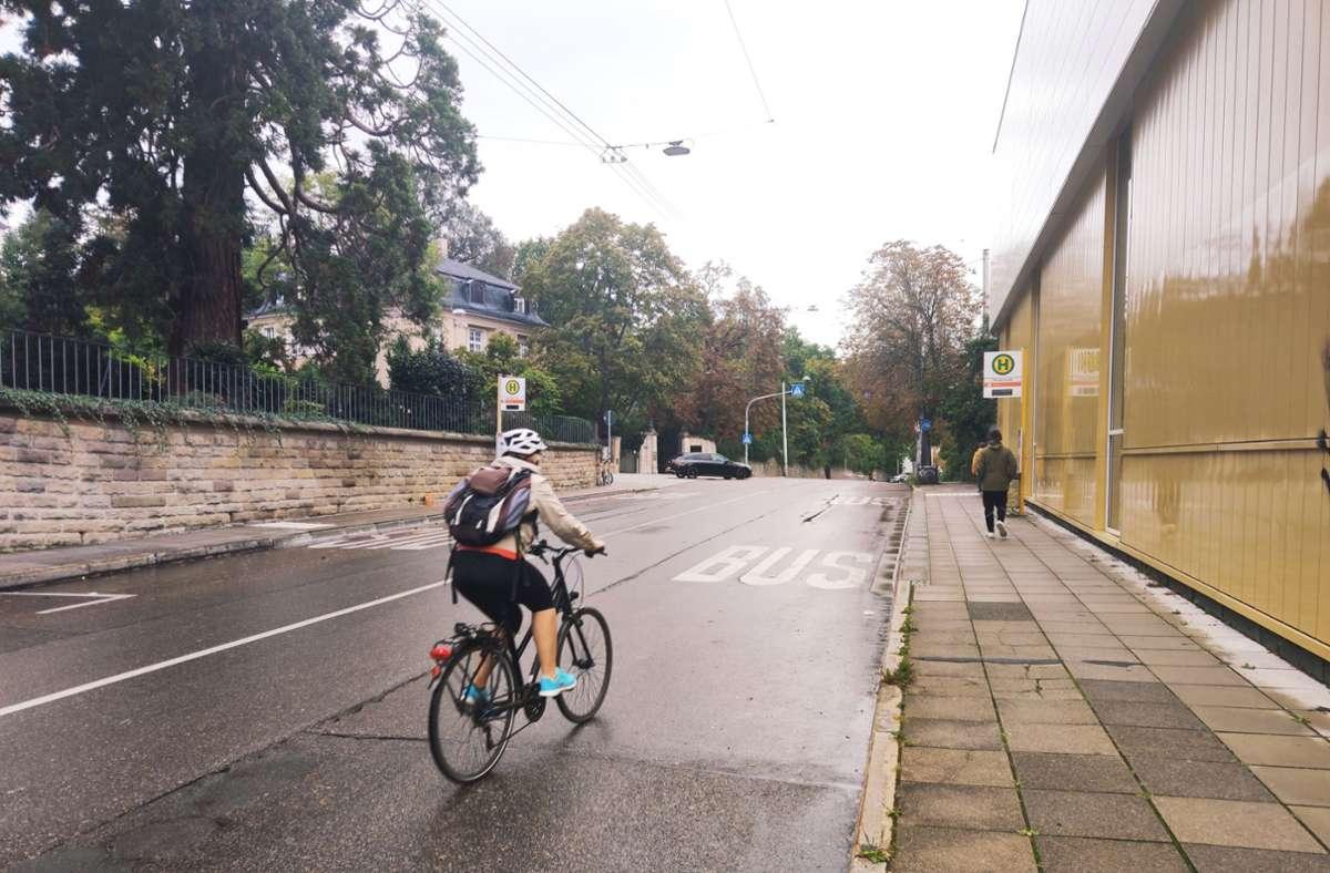 Bald soll hier rechts ein Radstreifen gebaut werden. Der Gehweg gegenüber wird verbreitert und Bäume sollen gepflanzt werden. Foto: Sybille  Neth