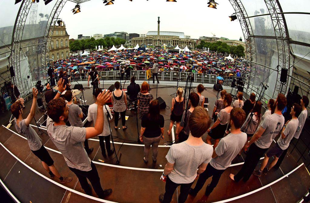 Die Vielfalt der Chorszene im Land: Das Stuttgarter Chorfest im Mai 2016 Foto: /Lichtgut/Leif Piechowski
