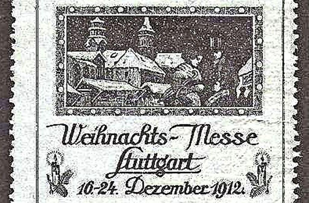 Der Weihnachtsmarkt in Stuttgart hieß einst Weihnachtsmesse: Briefmarke von 1912. Foto: Wolfgang Müller