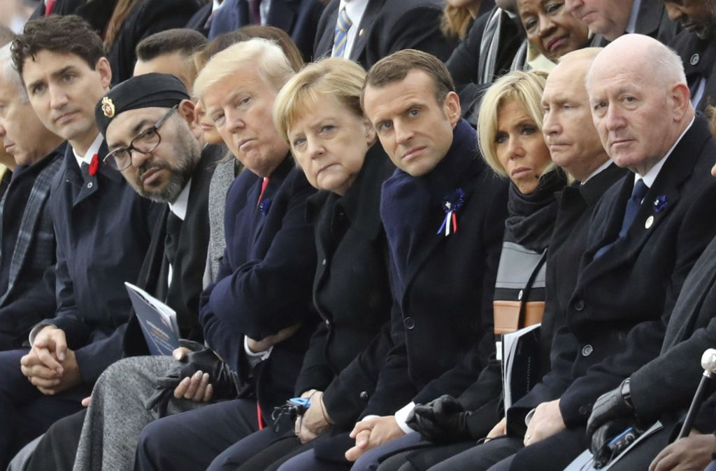 Die Staats- und Regierungschefs aus aller Welt haben sich in Paris versammelt. Darunter auch Angela Merkel und Donald Trump. Foto: AFP POOL