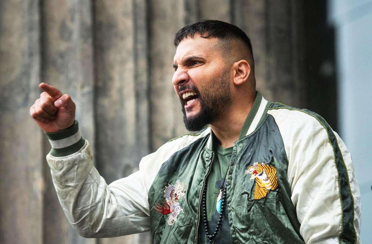 Attila Hildmann im Juni 2020 bei einer Demonstration gegen die Coronamaßnahmen in Berlin. Foto: AFP/STEFANIE LOOS