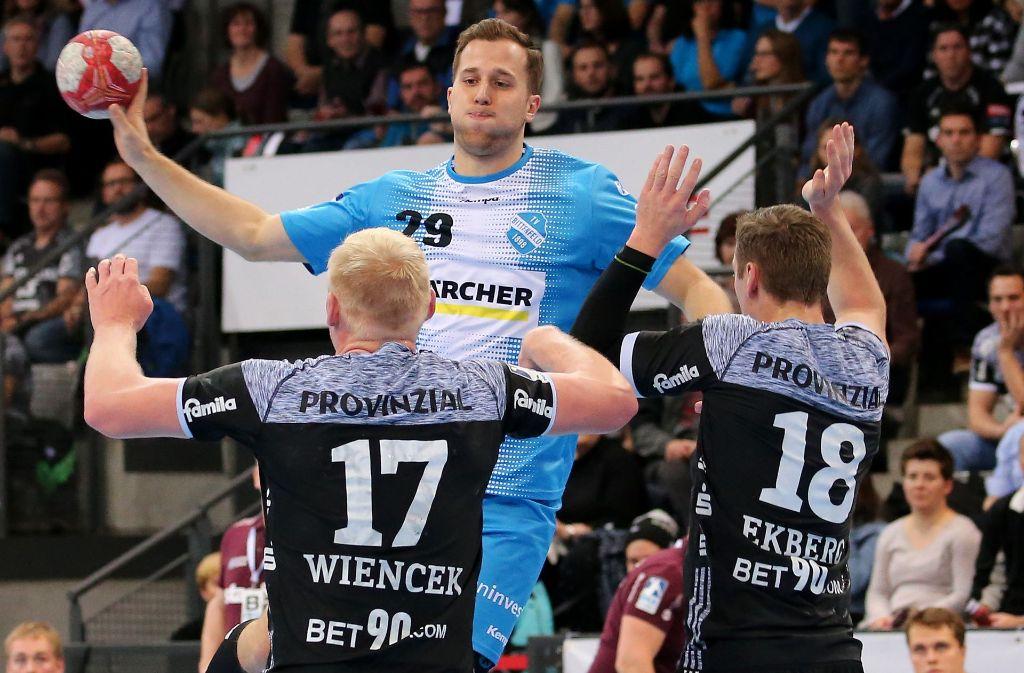 Sieben Tore gegen den Rekordmeister THW Kiel: Rechtshänder Marian Orlowski zeigt, wie wichtig er für Handball-Bundesligist TVB Stuttgart ist. Foto: Baumann