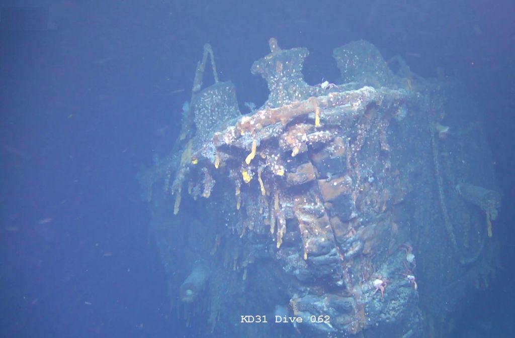 Das undatierte Bild zeigt das Wrack der SMS Scharnhorst im Atlantik vor den Falklandinseln. Britische Forscher haben den im Ersten Weltkrieg versenkten Panzerkreuzer im Südatlantik entdeckt. Foto: Falklands Maritime Heritage Trus